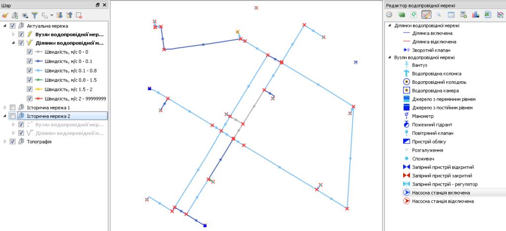 Тематичне розфарбування ділянки мережі, мережа водопостачання, мережа водовідведення, просторовий аналіз мереж