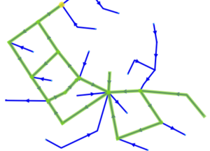 Constructing routes against the flow direction